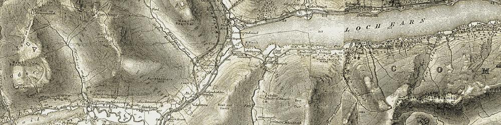 Old map of Allt a' Choire Fhuadaraich in 1906-1907