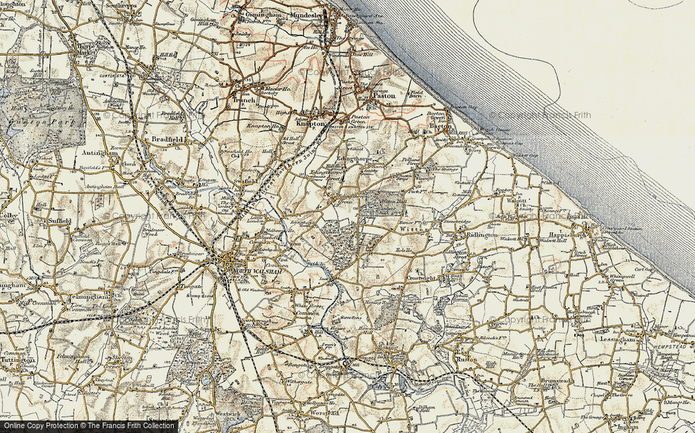 Old Map of Historic Map covering Bacton Wood in 1901-1902