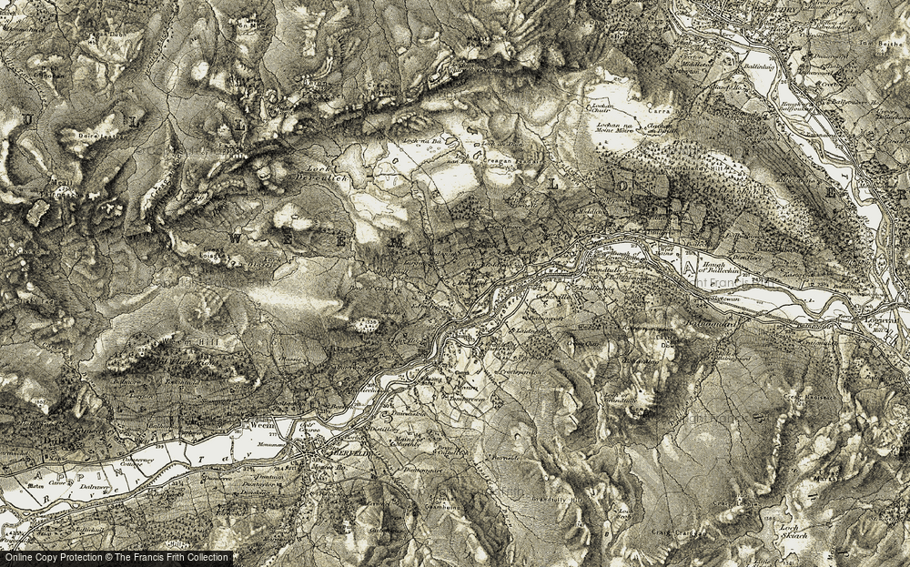 Old Map of Historic Map covering Aodin in 1906-1908