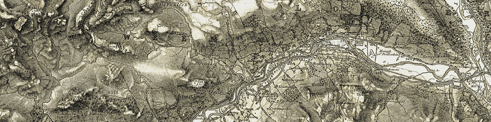 Old map of Aodin in 1906-1908