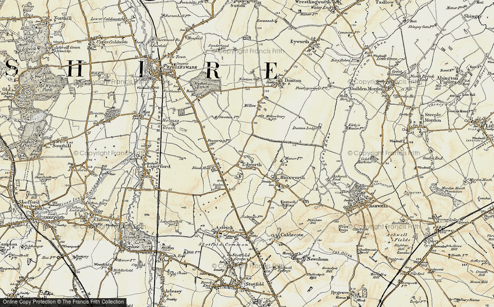 Old Map of Edworth, 1898-1901 in 1898-1901