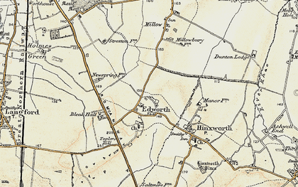 Old map of Edworth in 1898-1901