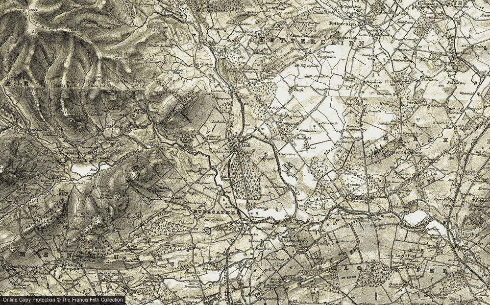 Old Map of Historic Map covering Balrennie in 1908
