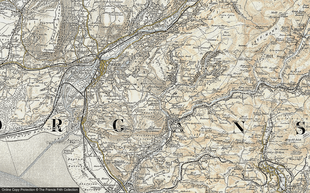 Old Map of Historic Map covering Baradychwallt in 1900-1901