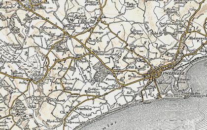 Old map of Afon Rhyd-hir in 1903