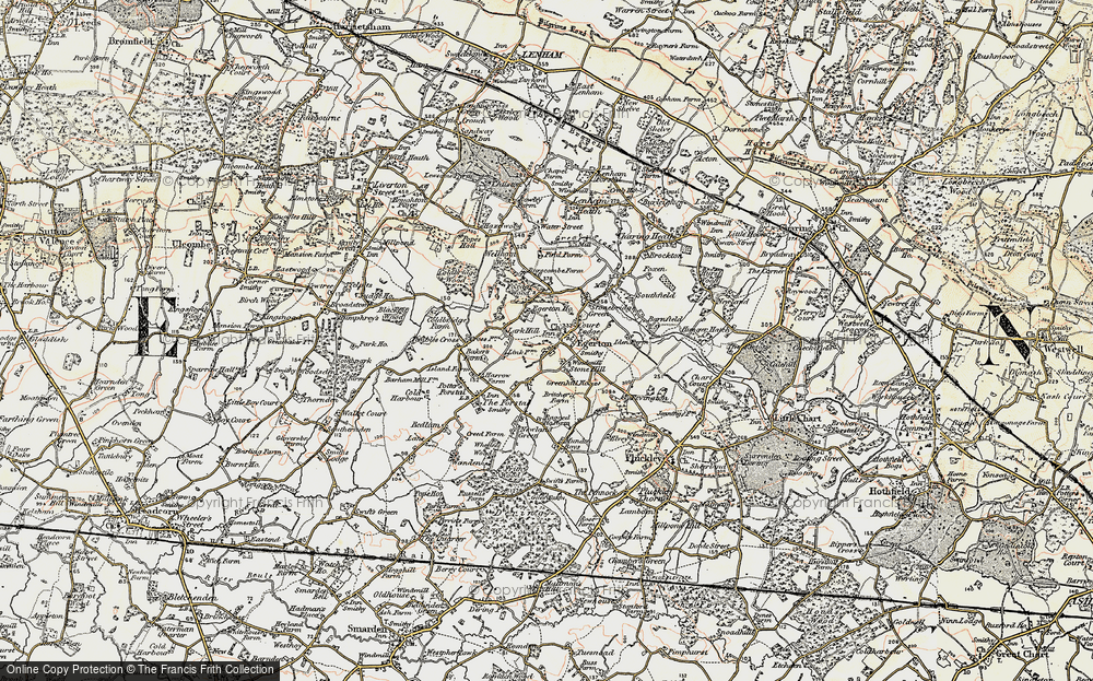 Old Map of Historic Map covering Lark Hill in 1897-1898
