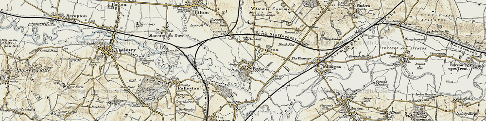 Old map of Egginton in 1902