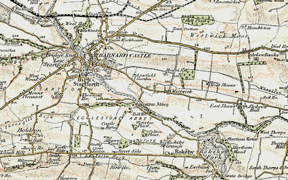Old map of Egglestone Abbey in 1903-1904