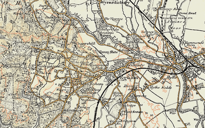 Old map of Egham in 1897-1909