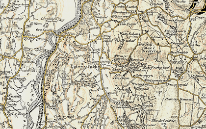 Old map of Eglwysbach in 1902-1903