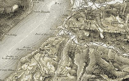 Old map of Allt an Fhaing in 1908-1909
