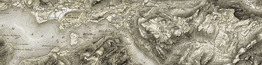 Old map of Eilean Donan in 1908-1909