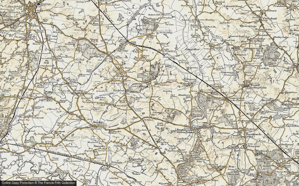 Old Map of Historic Map covering Lane End in 1902