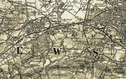 Old map of Elderslie in 1905-1906