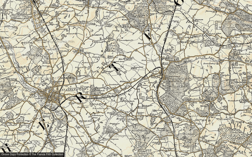 Old Map of Historic Map covering Astwick Manor in 1898