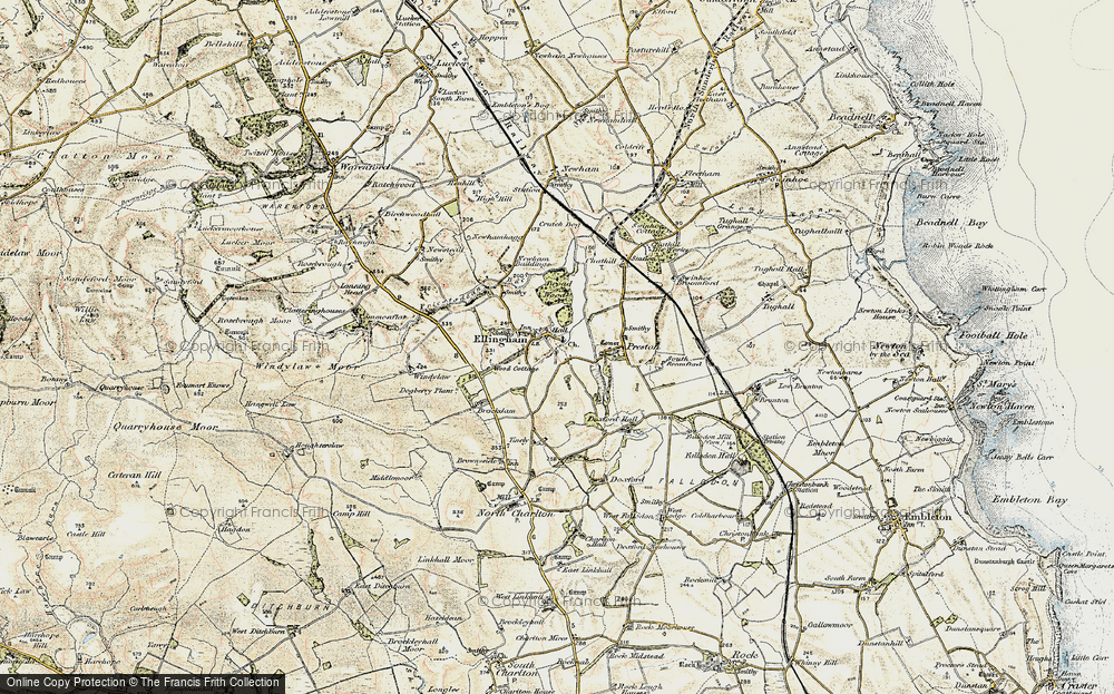 Old Map of Historic Map covering Wood Cott in 1901-1903