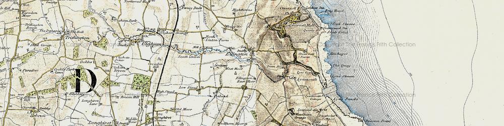 Old map of Ellington in 1901-1903