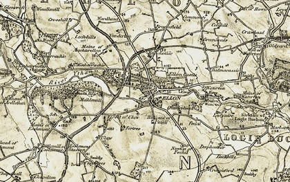 Old map of Ellon in 1909-1910