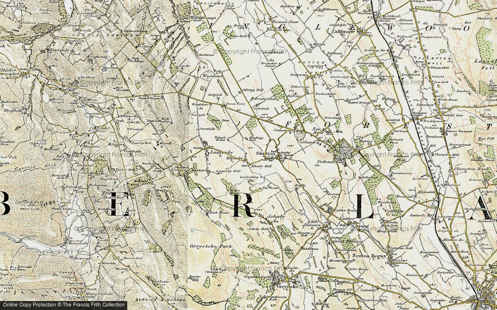 Old Map of Historic Map covering Askrigg Hall in 1901-1904