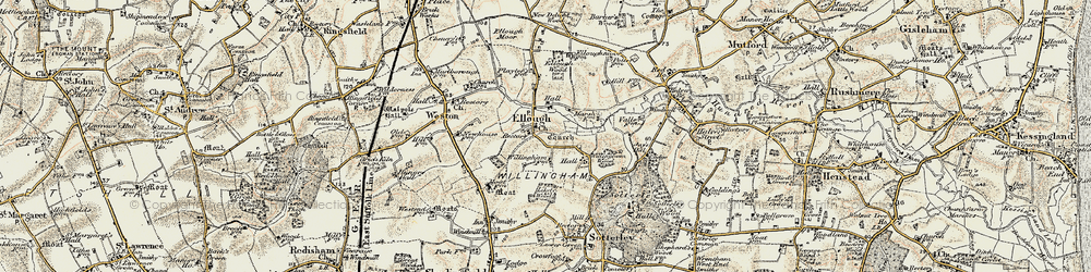 Old map of Willingham Hall in 1901-1902