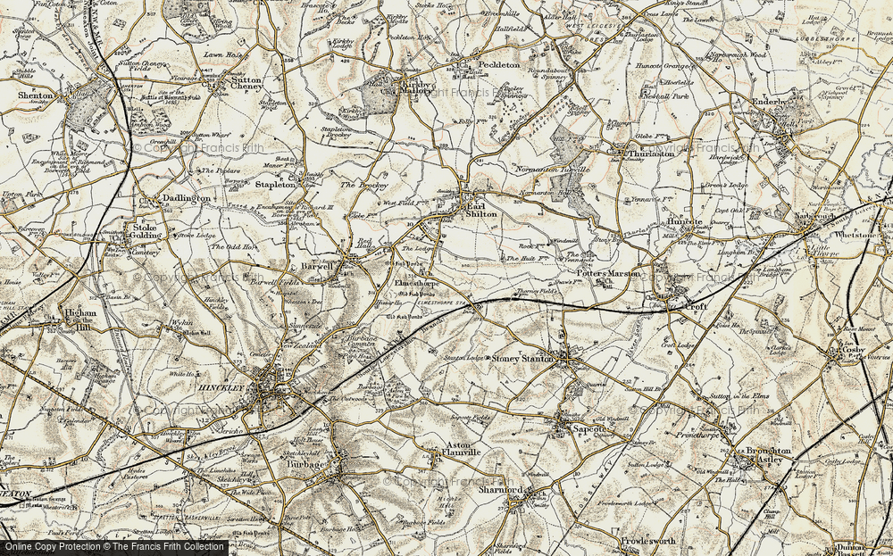 Old Map of Historic Map covering Aston Firs in 1901-1903