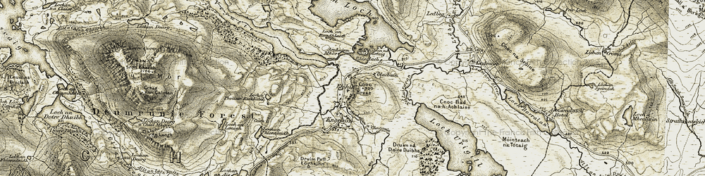 Old map of Abhainn Mòr in 1910-1912