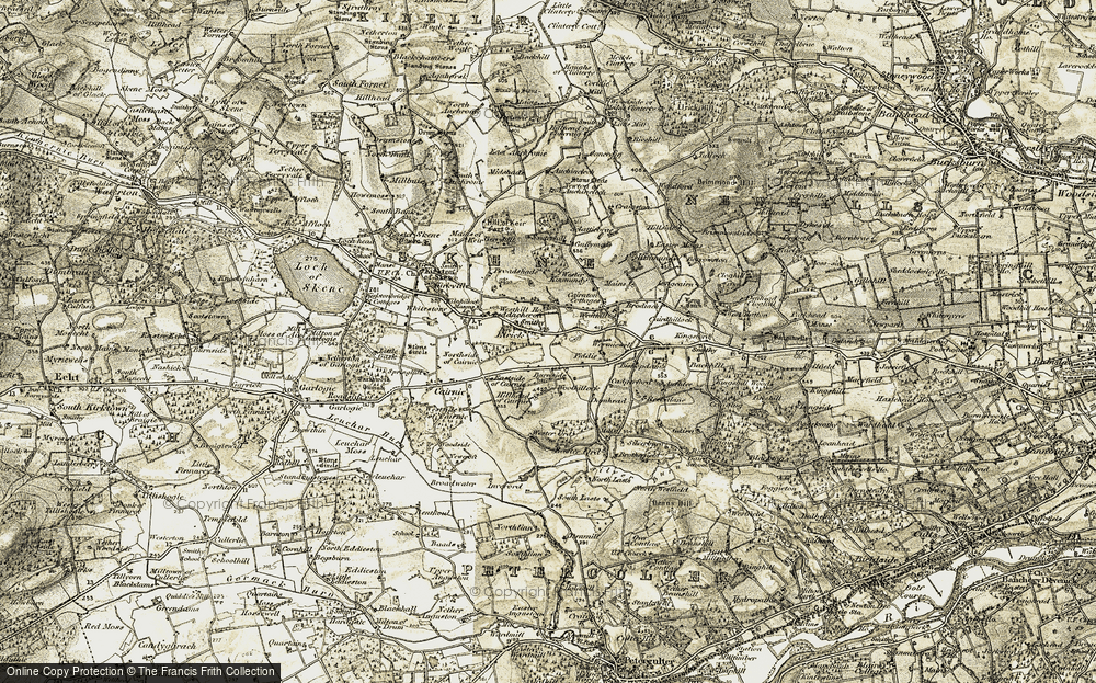 Old Map of Historic Map covering Auchlea in 1909