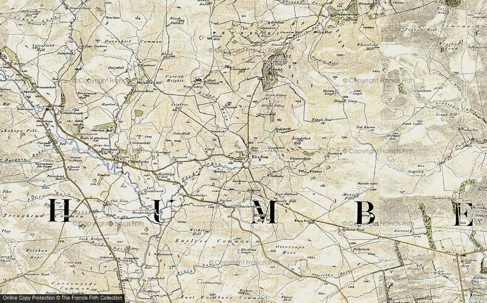 Old Map of Historic Map covering Leech-hope Crag in 1901-1903