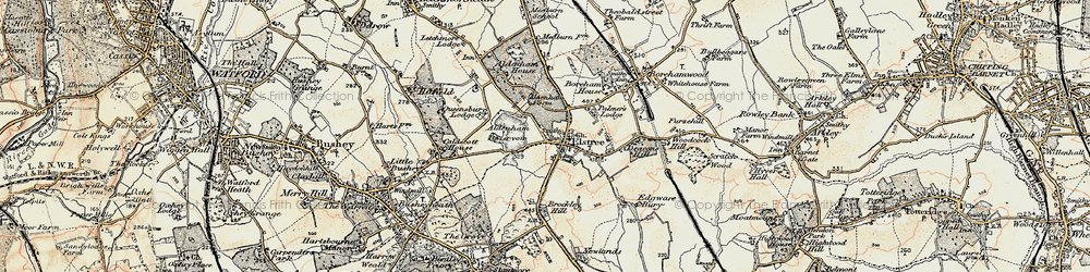 Old map of Aldenham Country Park in 1897-1898