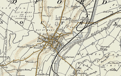 Old map of Ely in 1901
