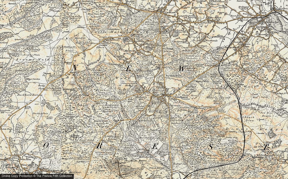 Old Map of Historic Map covering Acres Down in 1897-1909