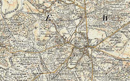 Old map of Emery Down in 1897-1909