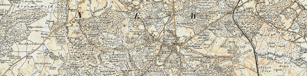 Old map of Acres Down in 1897-1909