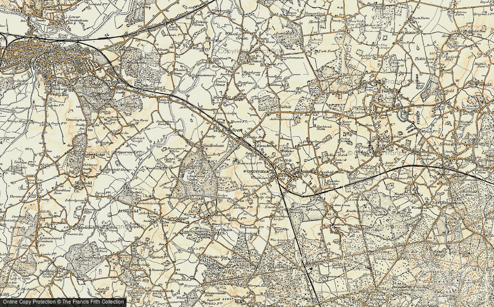 Old Map of Historic Map covering Woose Hill in 1897-1909