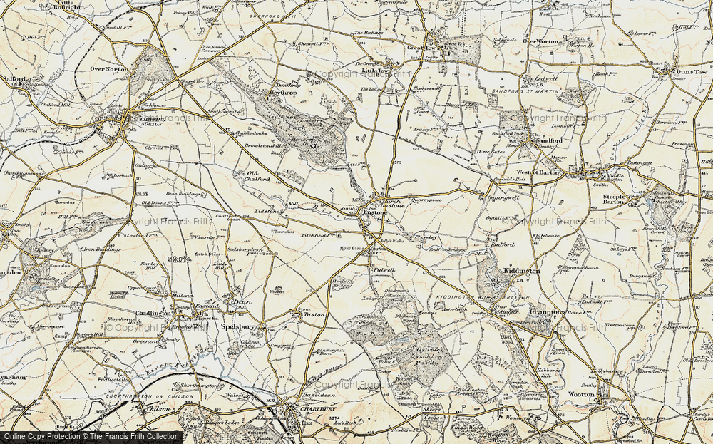 Old Map of Enstone, 1898-1899 in 1898-1899