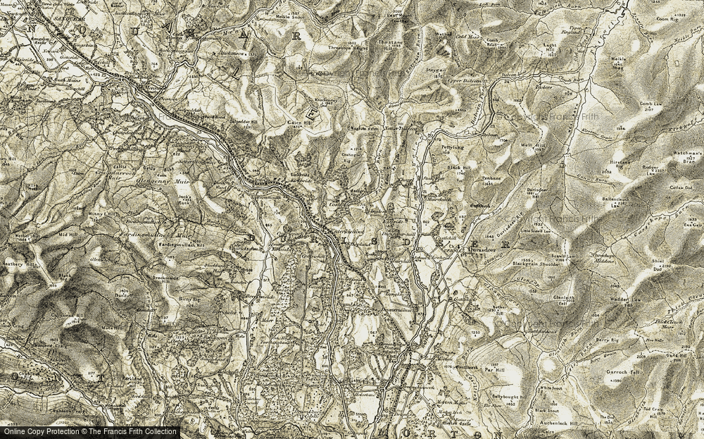 Old Map of Historic Map covering Auchenlone Burn in 1904-1905