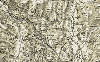 Old map of Auchenlone Burn in 1904-1905