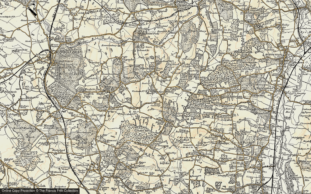 Old Map of Historic Map covering Woodcock Lodge in 1898