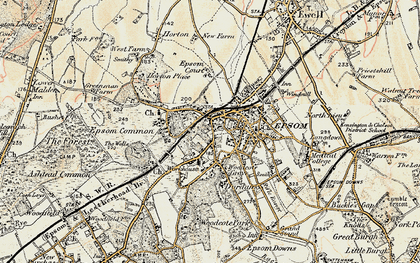 Old map of Epsom in 1897-1909