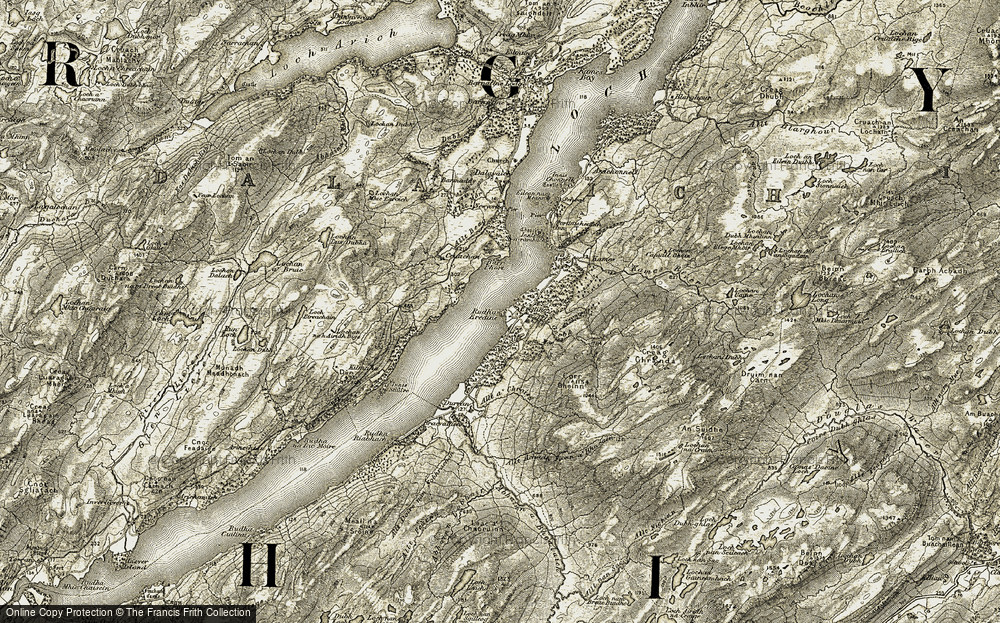 Old Map of Historic Map covering Alltan Mòr in 1906-1907