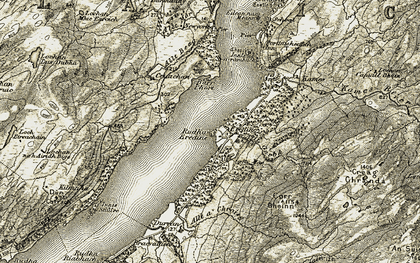 Old map of Alltan Mòr in 1906-1907