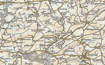 Old map of Ermington in 1899-1900