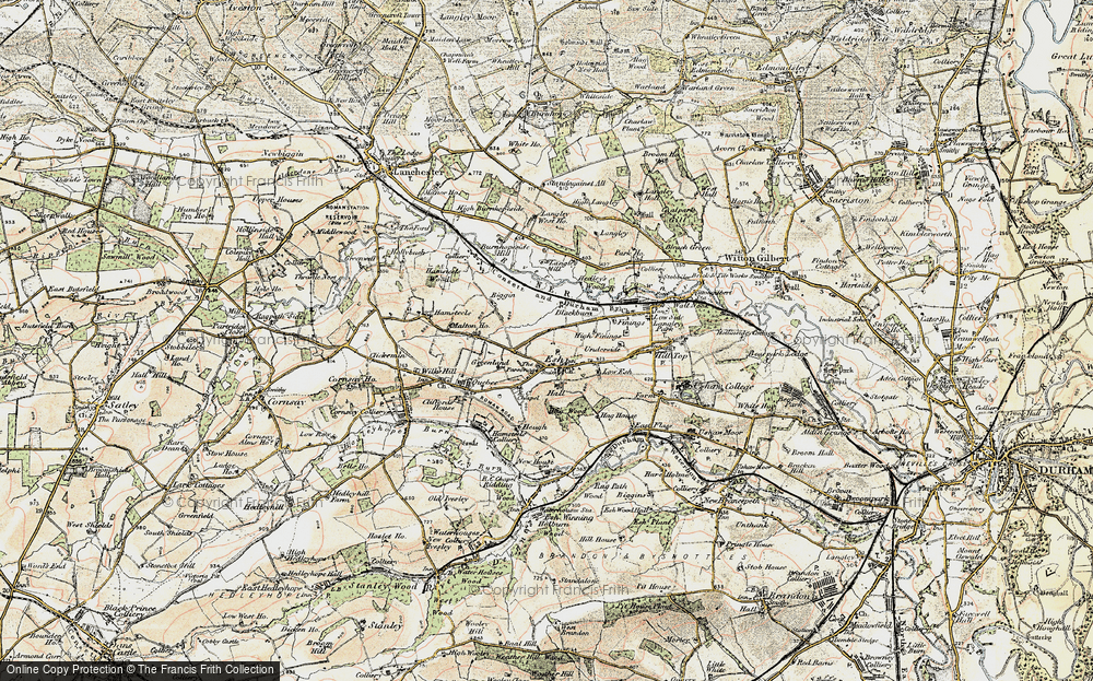 Old Map of Historic Map covering Langley West Ho in 1901-1904