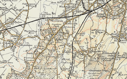 Old map of Esher in 1897-1909