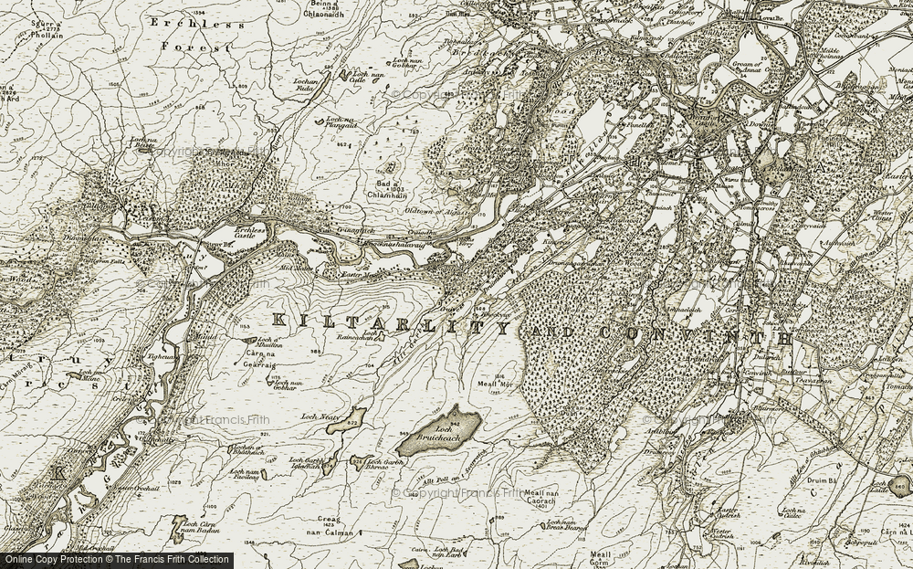 Old Map of Historic Map covering Bad a' Chlamhain in 1908-1912