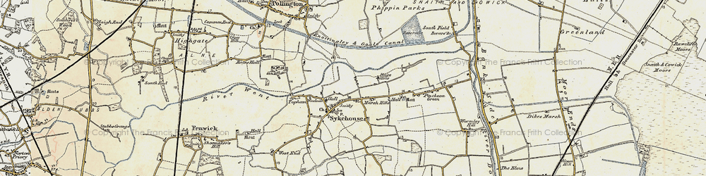 Old map of Aire and Calder Navigation in 1903