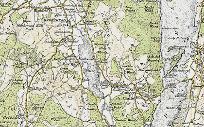 Old map of Esthwaite Water in 1903-1904
