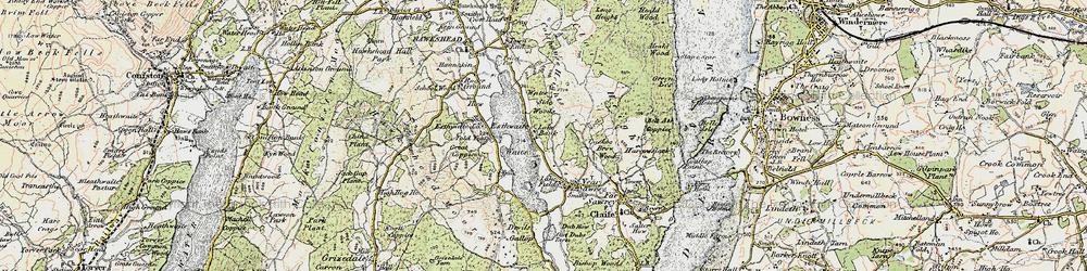 Old map of Esthwaite Water in 1903-1904