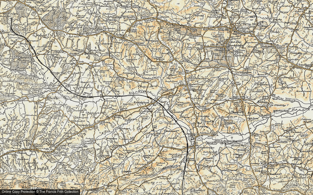 Old Map of Etchingham, 1898 in 1898