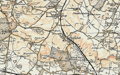Old map of Etchinghill in 1898-1899